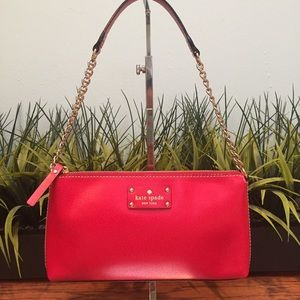Kate Spade Red Leather Purse with Gold Chain